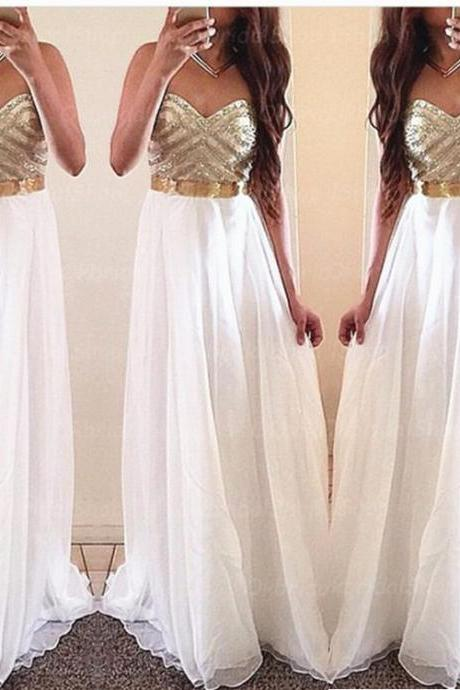 Prom Dresses,Beading Prom Dress,White Prom Gown Prom Gowns,Elegant Evening Dress,Modest Evening Gowns Party Gowns,Prom Dress