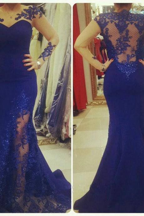 Evening Dress,Sheer Neckline Evening Dress,Long Sleeves Mermaid Prom Dress with Lace Appliques