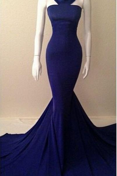 Simple blue Mermaid Prom Dress ,Halter Prom Dress ,Long Evening Dress ,Formal Dress for Women Evening ,Wedding Party Dress ,Homecoming Dress long,Prom Dress Plus Size