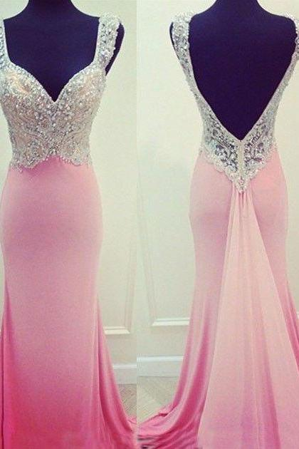 Charming Prom Dress,V-Neck Prom Dress,Beading Prom Dress,Satin Prom Dress,Mermaid Evening Dress