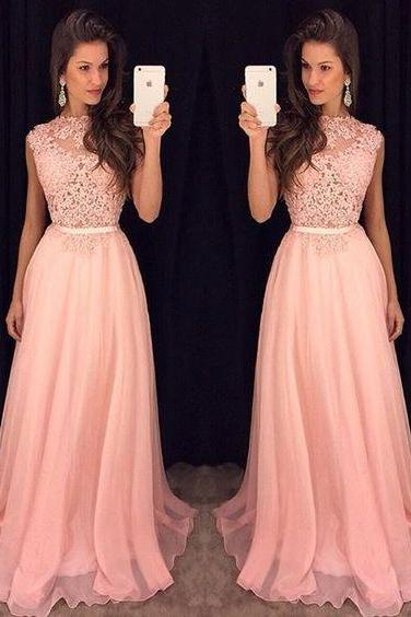 2017 Charming Prom Dress Pink Prom Dress,Beading Prom Dress,Satin Prom Dress A-Line Evening Dress