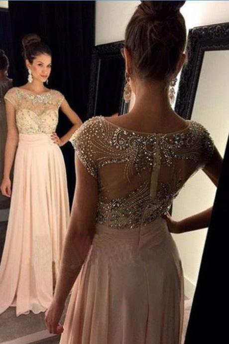 Cute A-line round neck beaded long pink prom dress 2016 for teens, evening dress, modest prom dress long