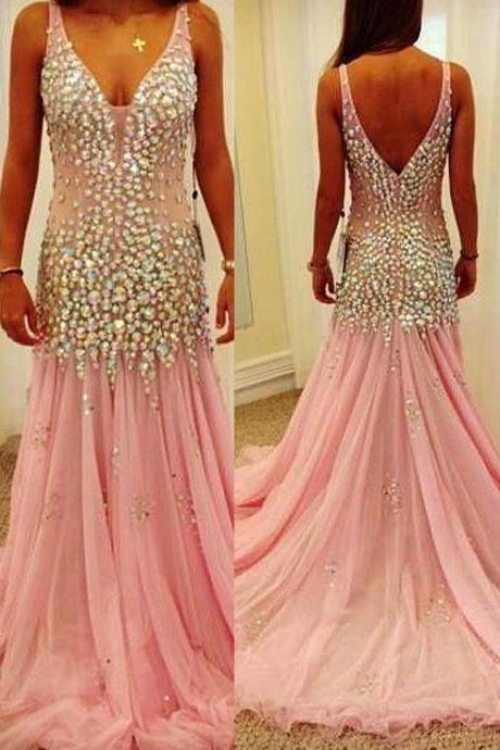 Luxury Backless Beaded Long Mermaid Prom Dress ,Pink Tulle V-neck Evening Dress ,Homecoming Dress Long ,Party Dress,Pageant Dress,Formal Dress,Celebrity Dress