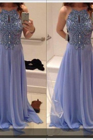 2017 Amazing Halter Prom Dress,Backless Prom Dress blue evening dresses