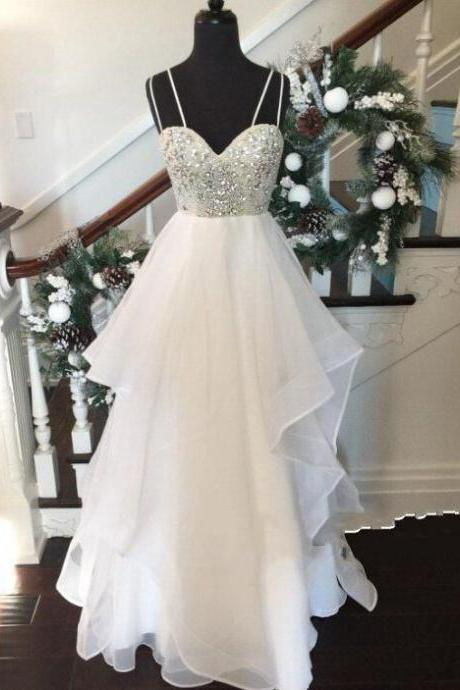 White Sweetheart Sequin Long Prom Dress, Evening Dresses,White Prom Dress,Formal Dress,wedding dresses
