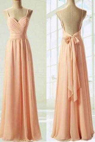 Charming Prom Dress,Sweetheart Prom Dress,A-Line bridesmaid Dress,Pink Prom Dress,Chiffon Prom Dress, With Straps Long Modest Gowns Dresses