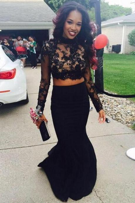 Black Prom Dress, Long Sleeve Prom Dress, Lace Prom Dress, Two Piece Prom Dresses, Elegant Prom Dress, Mermaid Prom Dress, Evening Dress Prom, 2016 Prom Dresses