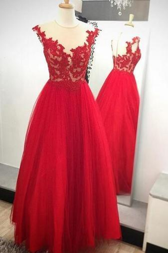 Red A-Line Prom Dress,Long Evening Dress,Appliques Prom Dress ,Charming Prom Dress, Prom 2017