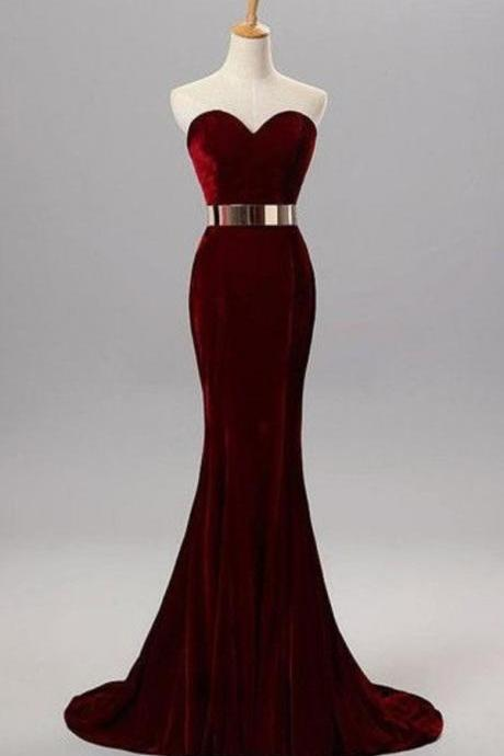 Burgundy Mermaid Sweetheart Evening Gowns with Belt Velvet Simple Formal Occasion Dress prom dresses partydresses bridesmaid