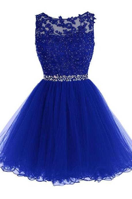 Royal Blue Prom Dress, Short Beaded Prom Dress, Tulle Applique Evening Dress, Sweet 16 Prom Dress, Party Dress Dance, Ball Gowns, Royal Blue Homecoming Dress, Short Cocktail Dresses