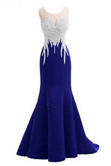 Sparkly Crystal Prom Dresses,Mermaid Prom Dresses,Sexy Backless Prom Dresses,Sleeveless Prom Dresses,Long Prom Dresses, Royal Blue Prom Dresses