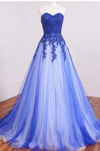 Sweetheart A-line Lace Tulle Long Prom Dresses, Formal Dresses, Blue Lace Long Prom Dress, Lace Evening Dress