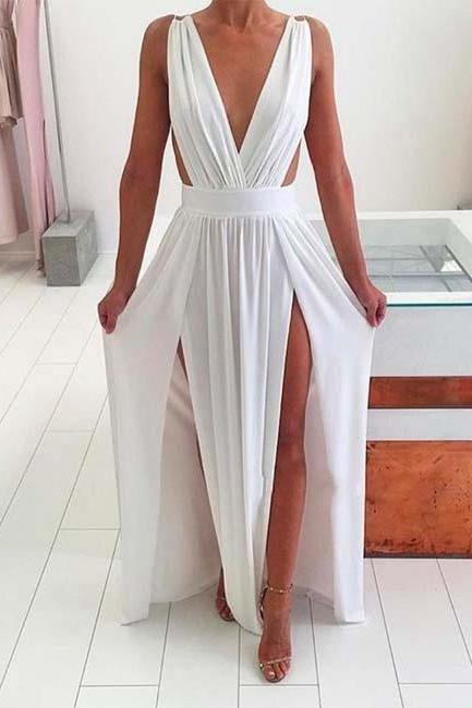 Sexy Backless Prom Dress, White Dress, Woman Dresses, Prom Dresses, Long Prom Dresses, Long Formal Dress
