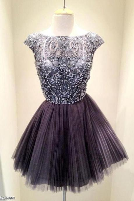 Short Dark Grey Bead Tulle Prom Dress, Custom Made Prom Dress, Short Prom Dresses, Knee-length Formal Dress, Homecoming Dresses, Party Dress, Cocktail Dress