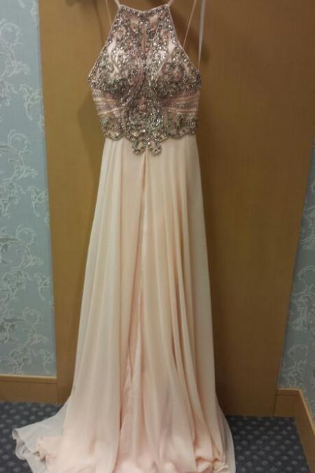 Light Pink Beaded Ferreting Backless Sexy Long Prom Dress, Beautiful Senior Prom Dress, Beading Prom Dresses, Prom Party Dresses