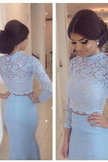 Charming Two Pieces Prom Dresses, Mermaid Prom Dresses, Blue Lace with Stain Prom Dresses, Long Sleeve Evening Gowns, Floor Length Fashion Long Party Dress