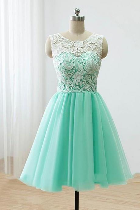 Lovely Handmade Short Mint Chiffon Prom Dress with Lace, Homecoming Dresses, Short Prom Dresses