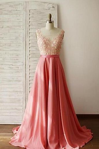 Beautiful Handmade Pink Peach Long Prom Dress with Lace Applique, Chiffon and Lace Prom Dresses, Prom Gowns, Party Dresses, Evening Gowns