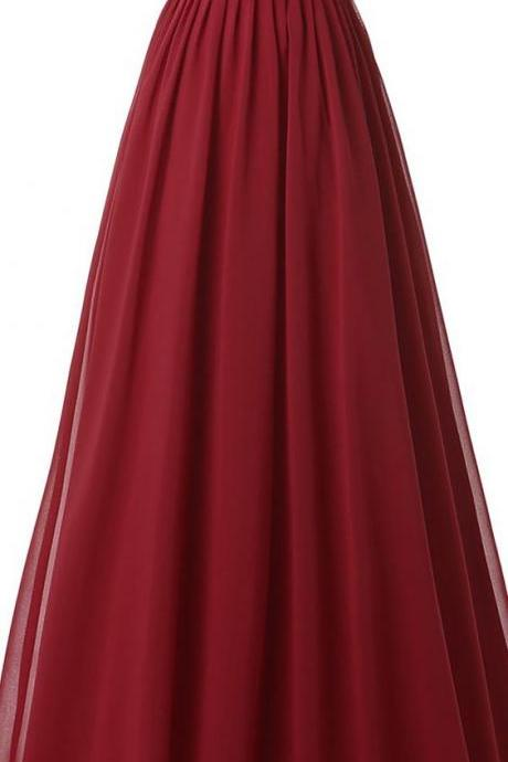 Floor Length Chiffon Evening Dress Prom Gown with Appplique