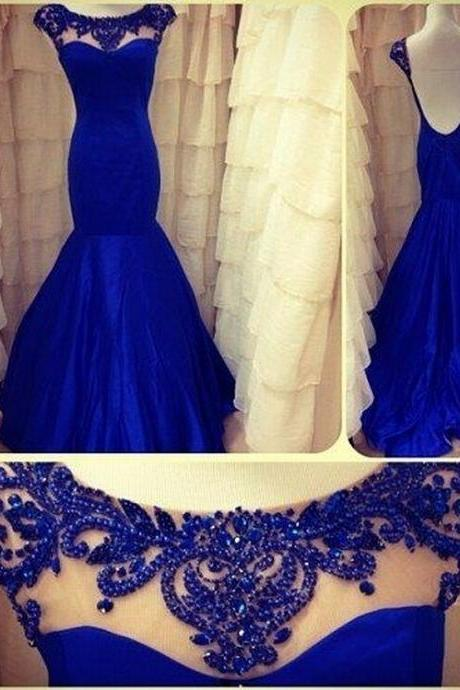 Charming Sheer Straps Party Gown, Floor-Length Evening Gowns, New Arrival Natural Long Prom Dresses, Elegant royal Blue Prom Gown