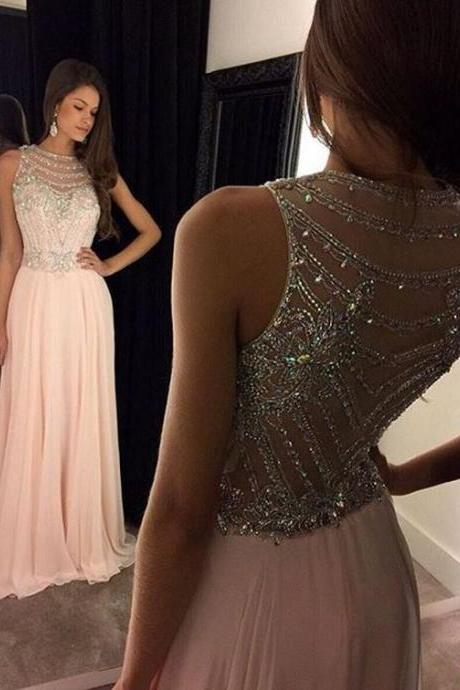 Prom dress,Prom dress 2017Long prom dress,Beading prom dress,Illusion prom dress,Chiffon prom dress