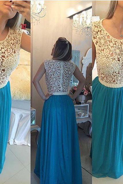 Ivory Lace Blue Prom Dresses 2017,Pearls See Through Prom Dress,Sexy Long Evening Dress, Graduation Dresses, Wedding Party Gowns