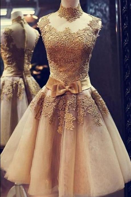 High neck Prom Dress Applique prom dress Charming prom dress,Elegant Women dress,Party dress