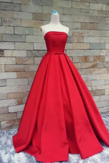 Red Prom Dresses,Simple Prom Dress,Sexy Prom Dress,Cheap Prom Dresses,2017 Formal Gown,Satin Evening Gowns,Ball Gown Party Dress,Strapless Prom Gown For Teens