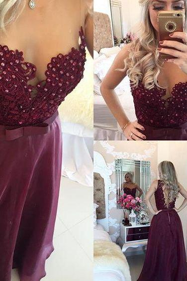 Maroon A-Line Prom Dresses 2017 Sheer Illusion Floor Length Beaded Burgundy Evening Gowns