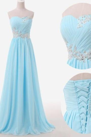 Light Blue Prom Dresses, Sweetheart Evening Gowns, Modest Formal Dresses, Beaded Prom Dresses, 2016 Fashion Evening Gown, Corset Evening Dress