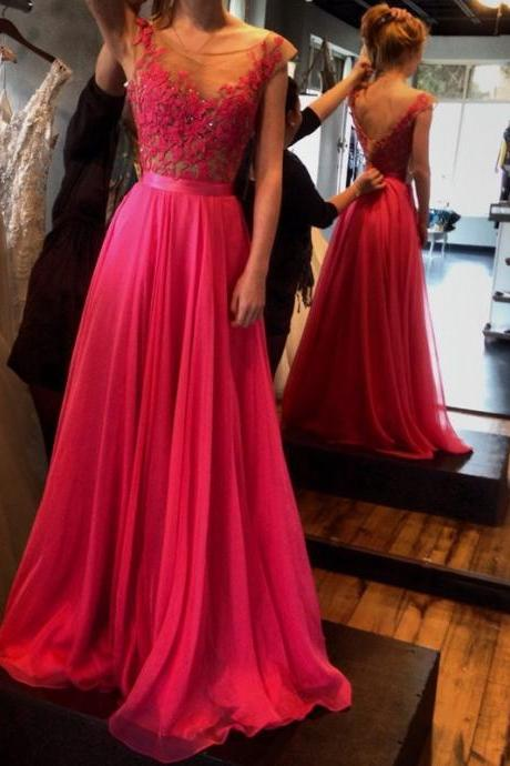 Hot-Selling Red A-Line Floor Length Sash Backless Scoop Chiffon Prom Dress with Lace