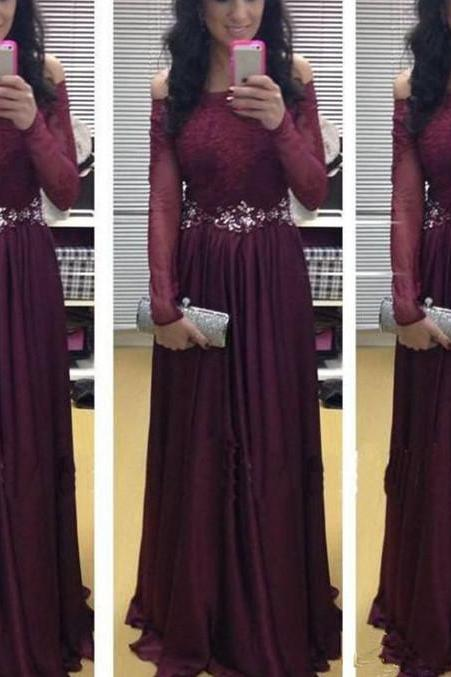 2017 Elegant Long Sleeve Maroon Off Shoulder Prom Gowns with Lace Applique, Prom Dresses 2016, Evening Dresses