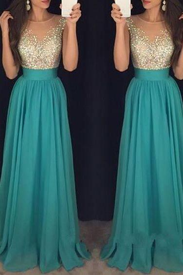 Simple Crystal Scoop Floor Length Sequins Prom Dresses, Beautiul Green Chiffon Long Sequins Prom Dress, Ball Gown, Modest Prom Dress