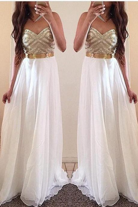 White Prom Dresses, Gold Prom Dress, Unique Prom Dresses, Sexy Prom Dresses, 2016 Prom Dresses, Popular Prom Dresses, Dresses for Prom