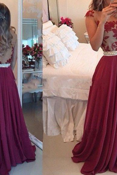 2017 Charming Prom Dresses with Pearls 2016, Chiffon Prom Dress, Long Prom Dress, Burgundy Prom Dresses