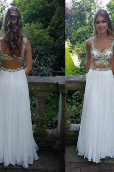 High Quality Prom Dress,A-Line Prom Dress,Chiffon Prom Dress,Beading Prom Dress, Backless Prom Dress