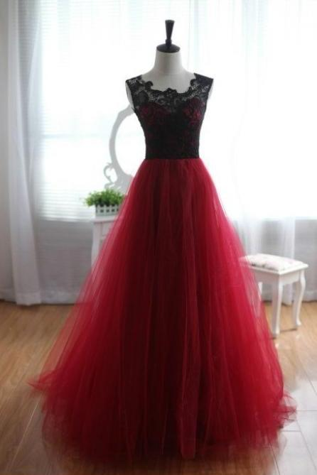 Pretty Handmade Tulle and Lace Burgundy Prom Dresses 2017, Burgundy Prom Dresses, Lace Prom Gown, Formal Dresses