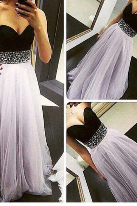 High Quality Light Lavender Tulle Prom Dresses 2017, Long Prom Dresses 2016, Prom Gowns, Evening Gowns