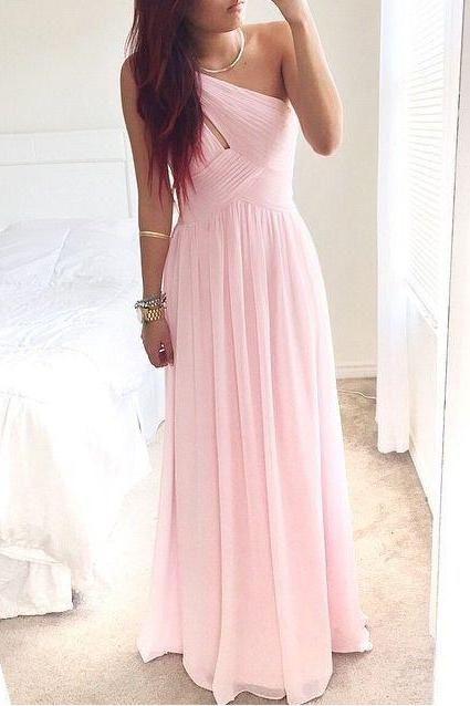 Pretty Pink One-Shoulder Simple Prom Dress 2016, Prom Dresses, Simple Prom Dresses 2017, Prom Gown, Evening Dresses