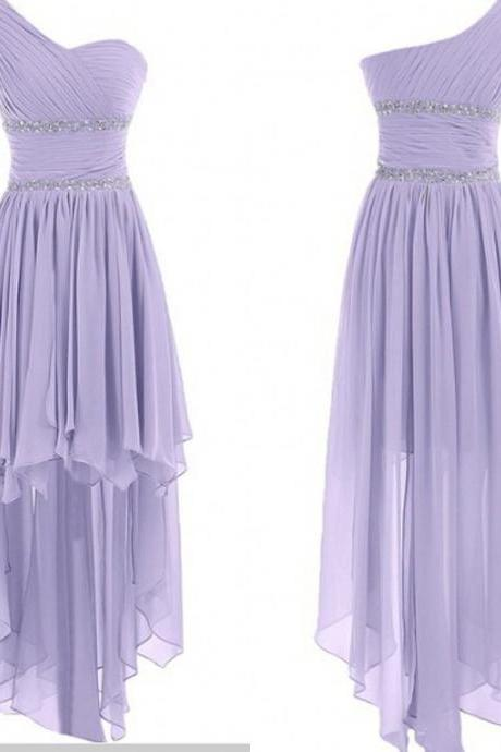 Cute One Shoulder High Low Lavender Chiffon Sweetheart Prom Dress, Bridesmaid Dress, Wedding Party Dresses