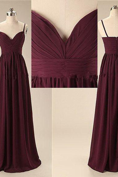 Elegant Handmade Long Sweetheart Straps Simple Prom Dresses, Long Prom Gowns, Bridesmaid Dresses, Wedding Party Dresses