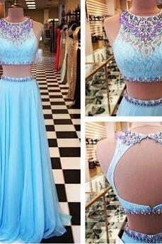 Beading Prom Dresses,A-Line Floor-Length Prom Dresses,Two Piece Prom Dresses, Blue Prom Dresses, Charming Backless Evening Dresses