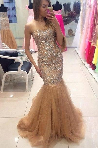 Charming Champagne Prom Dresses,Sweetheart Prom Dress,Mermaid Prom Dress,Tulle Prom Dress,Noble Beading Prom Dress