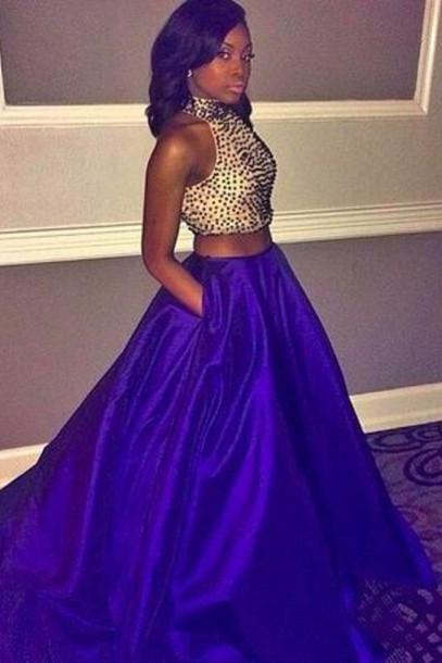 Royal Blue Crystals Beaded Two Pieces Prom Dresses, Blue Prom Dresses, Luulla Fashion Dress, Long Prom Dress, Graduation Dresses