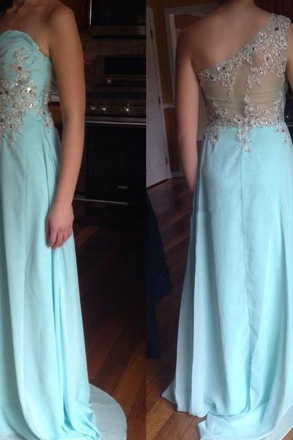 2017 Prom Gown,Blue Prom Dresses,One Shoulder Evening Gowns,Simple Formal Dresses,One Shoulder Prom Dresses 2016