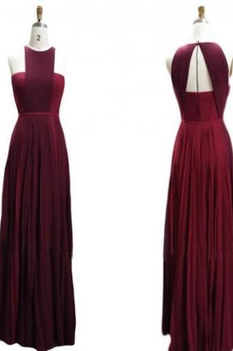 Burgundy Prom Dresses,Prom Gown,Chiffon Prom Gowns,Simple Evening Dress,Evening Dress,Wine Red Formal Dress,Backless Party Gowns