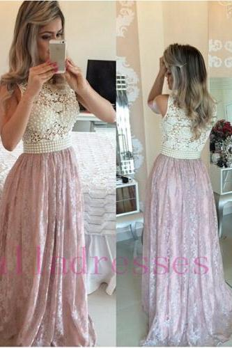 Prom Dresses,Pink Evening Gowns,Lace Formal Dresses,Prom Dresses ,2016 Fashion Evening Gown,Beautiful Evening Dress,Pink Formal Dress,Lace Prom Gowns