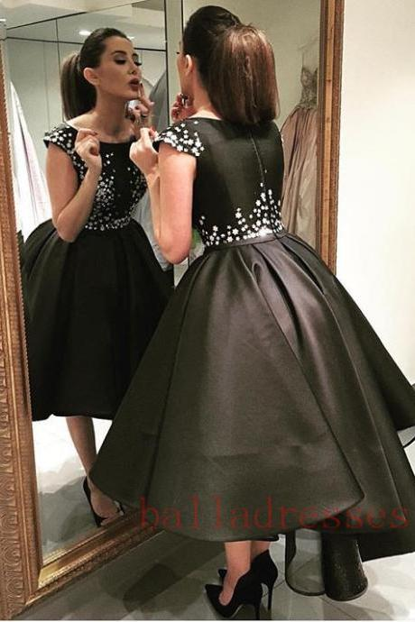 Satin Homecoming Dresses,Short Prom Gown,Black Homecoming Gowns,Sweet 16 Dress,Elegant Homecoming Dresses,Short Evening Dress