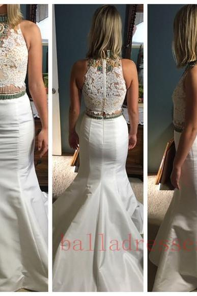 2 Piece Prom Gown,Two Piece Prom Dresses,White Lace Evening Gowns,2 Pieces Party Dresses,Evening Gowns,Straps Formal Dress, Evening Gown For Teens