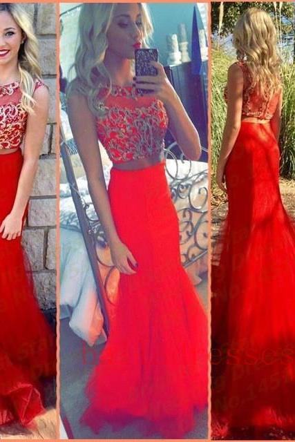 2 Piece Prom Gown,Two Piece Prom Dresses,Red Evening Gowns,2 Pieces Party Dresses,Tulle Evening Gowns,Sparkle Formal Dress For Teens